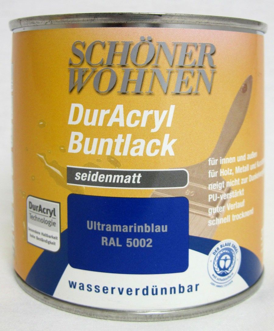 DurAcryl Buntlack seidenmatt RAL 5002 Ultramarinblau 375 ml