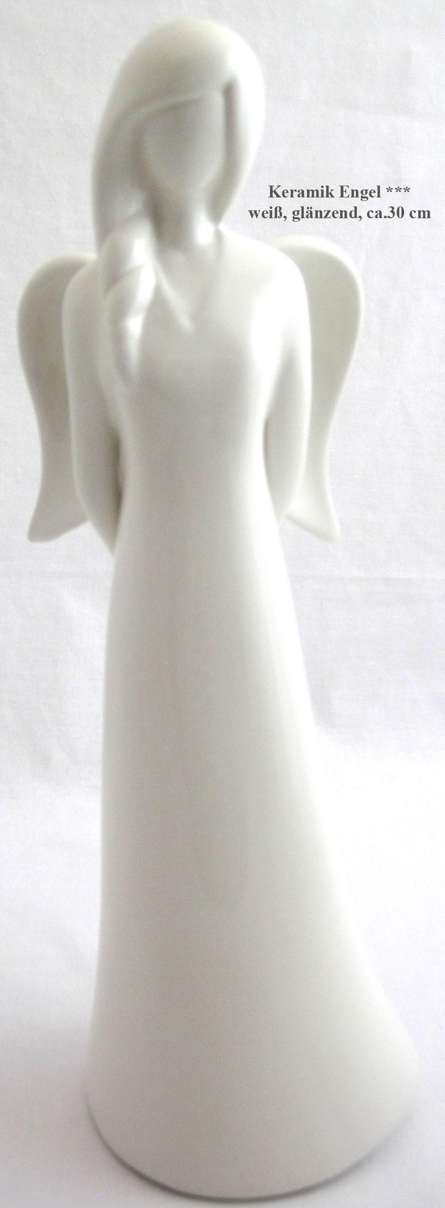 Deko-Engel Keramikfigur weiß glasiert ca.31cm