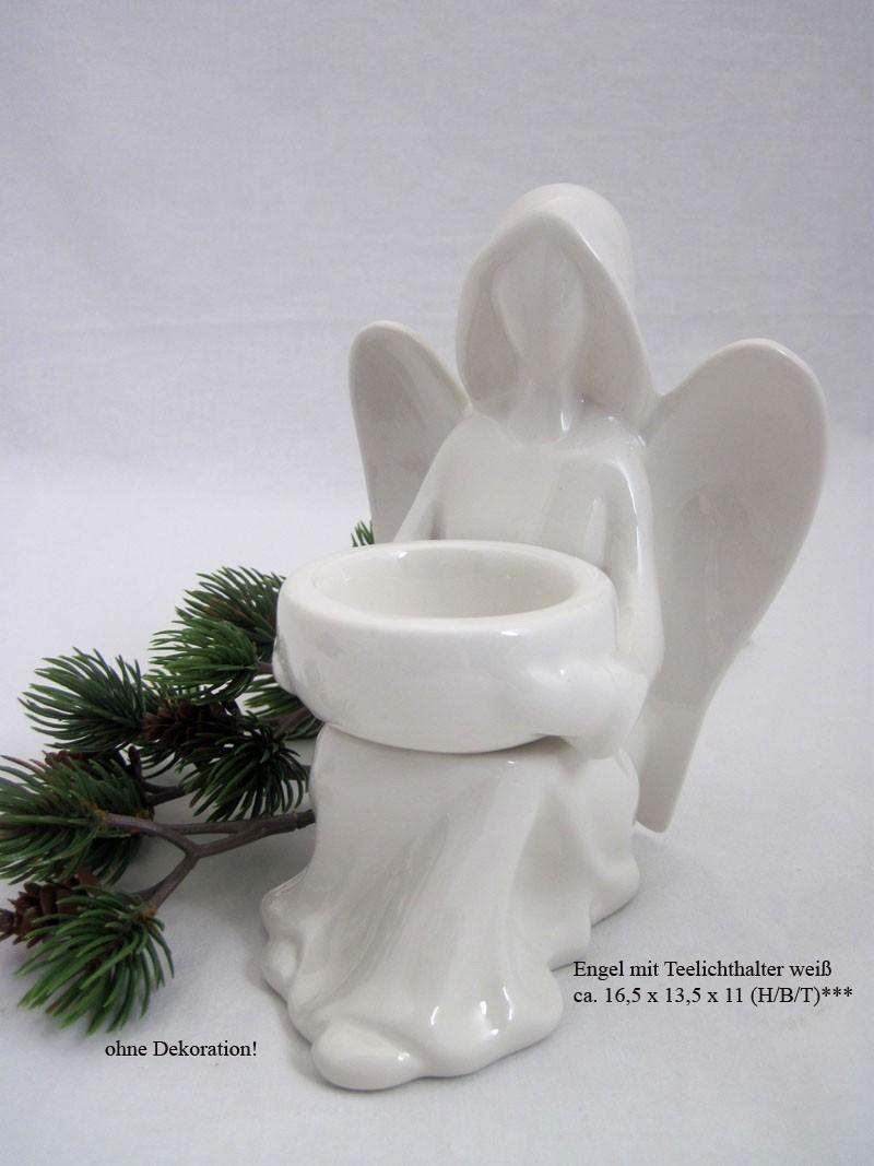 Weihnachtlicher Engel mit Teelichthalter weiß ca. 16,5 x 13,5 x 11 (H/B/T)