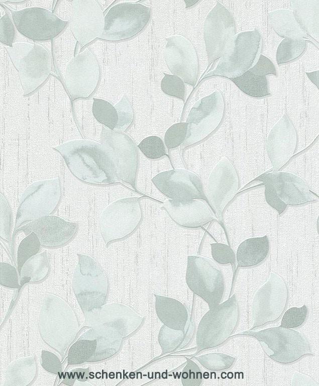 Vliestapete mit Blattmotiv 6972-08 - Grün, Graugrün, Silber 10,05 x 0,53 m