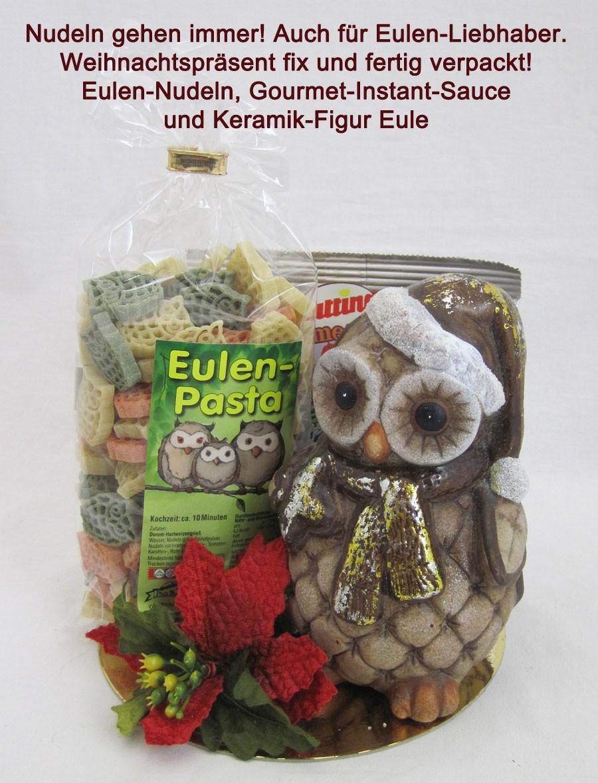 Eulen-Nudelpräsent mit Gourmet-Instand-Sauce und Keramik-Eule