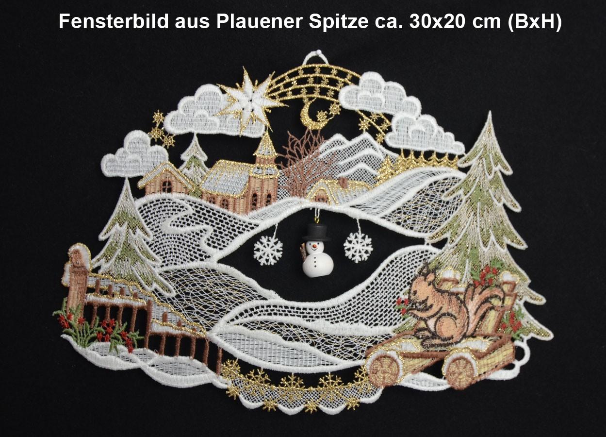 Fensterbild Eichhörnchen ca. 30x20 cm (BxH) Plauener Spitze