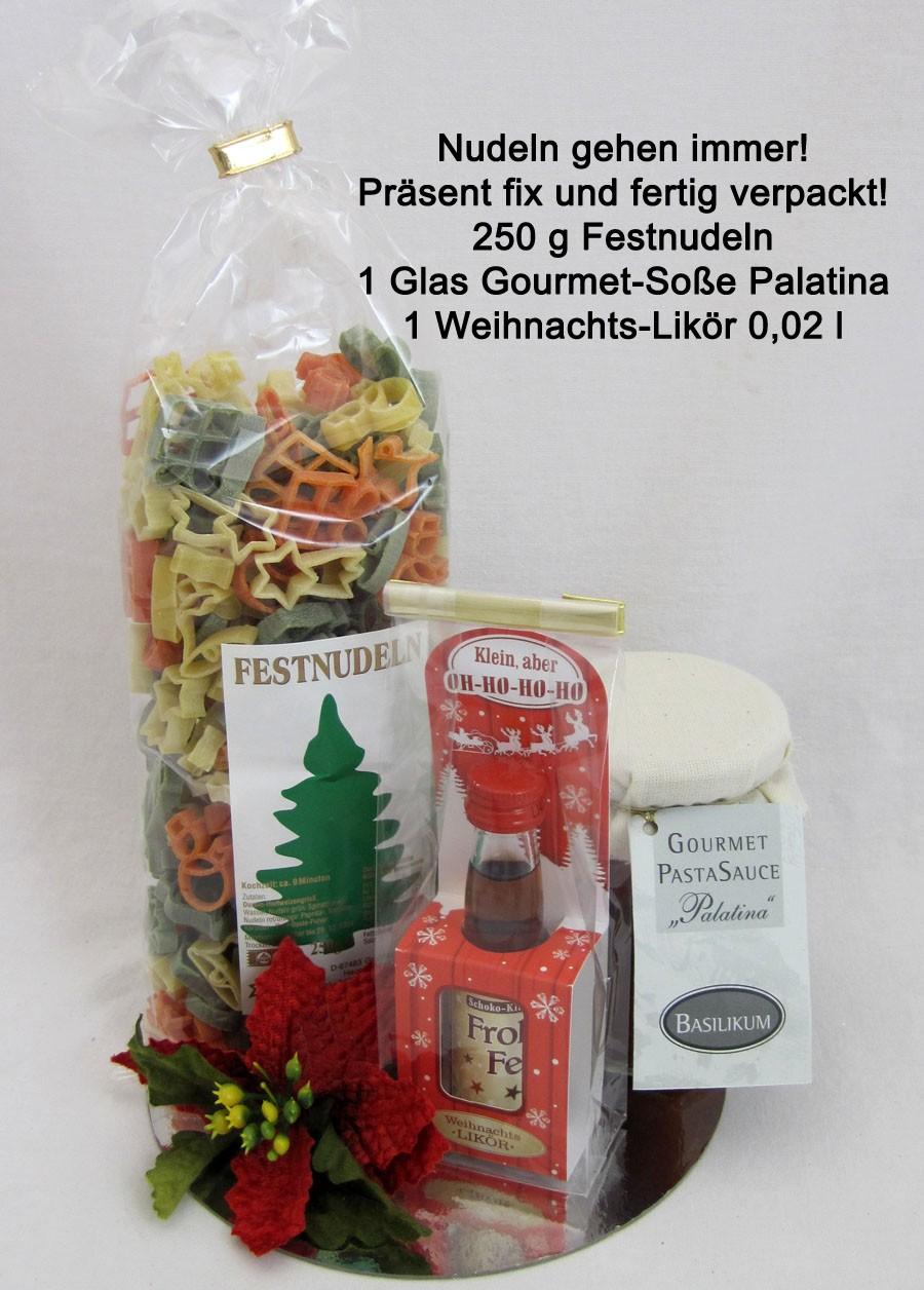 Festnudeln Präsent mit Gourmet-Soße und Weihnachts-Likör