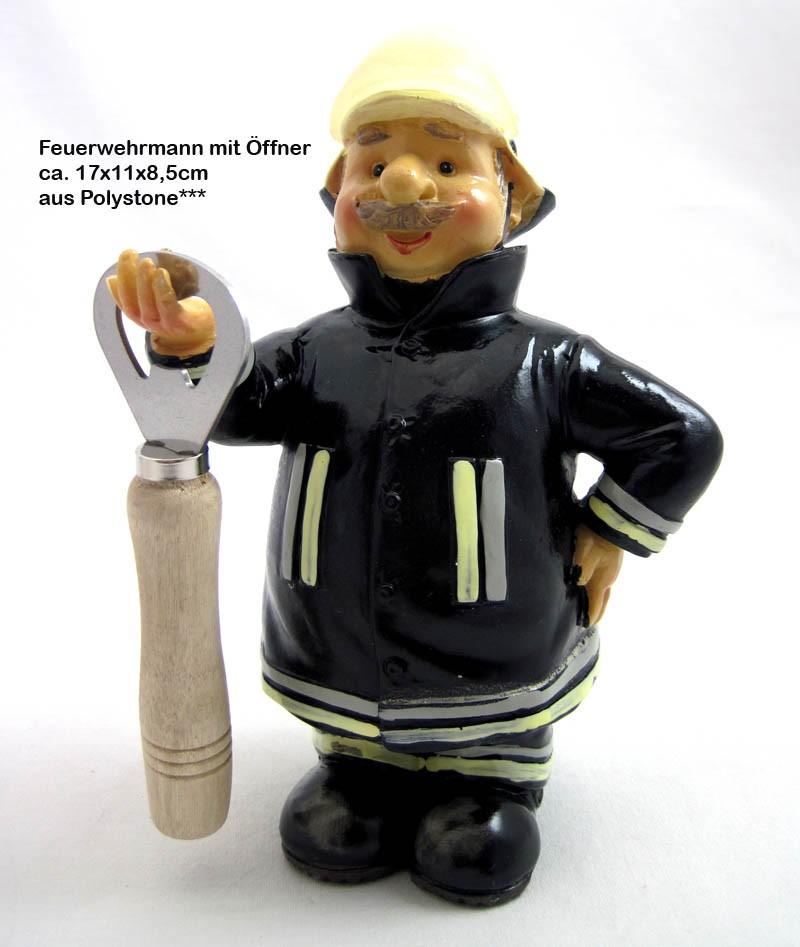 Deko-Figur Feuerwehrmann mit Flaschenöffner ca. 17x11x8,5 cm