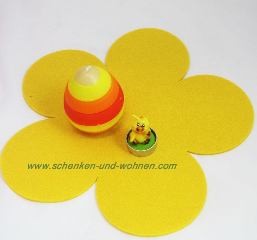 Deko - Filzblume, Gelb ca. 35 cm Durchmesser