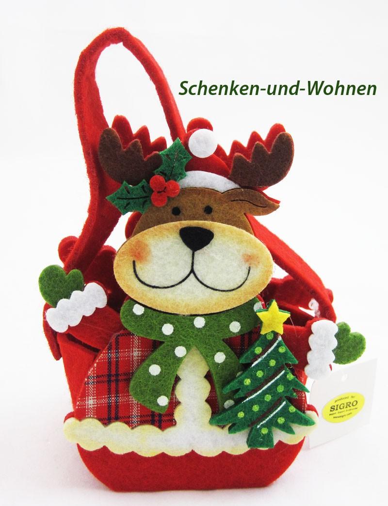 Filz-Tasche/Geschenktasche Elch bunt, ca.12 x 6 x 8 cm