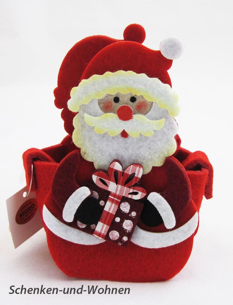 Filz-Tasche/Geschenktasche Weihnachtsmann bunt, ca.12 x 6 x 8 cm
