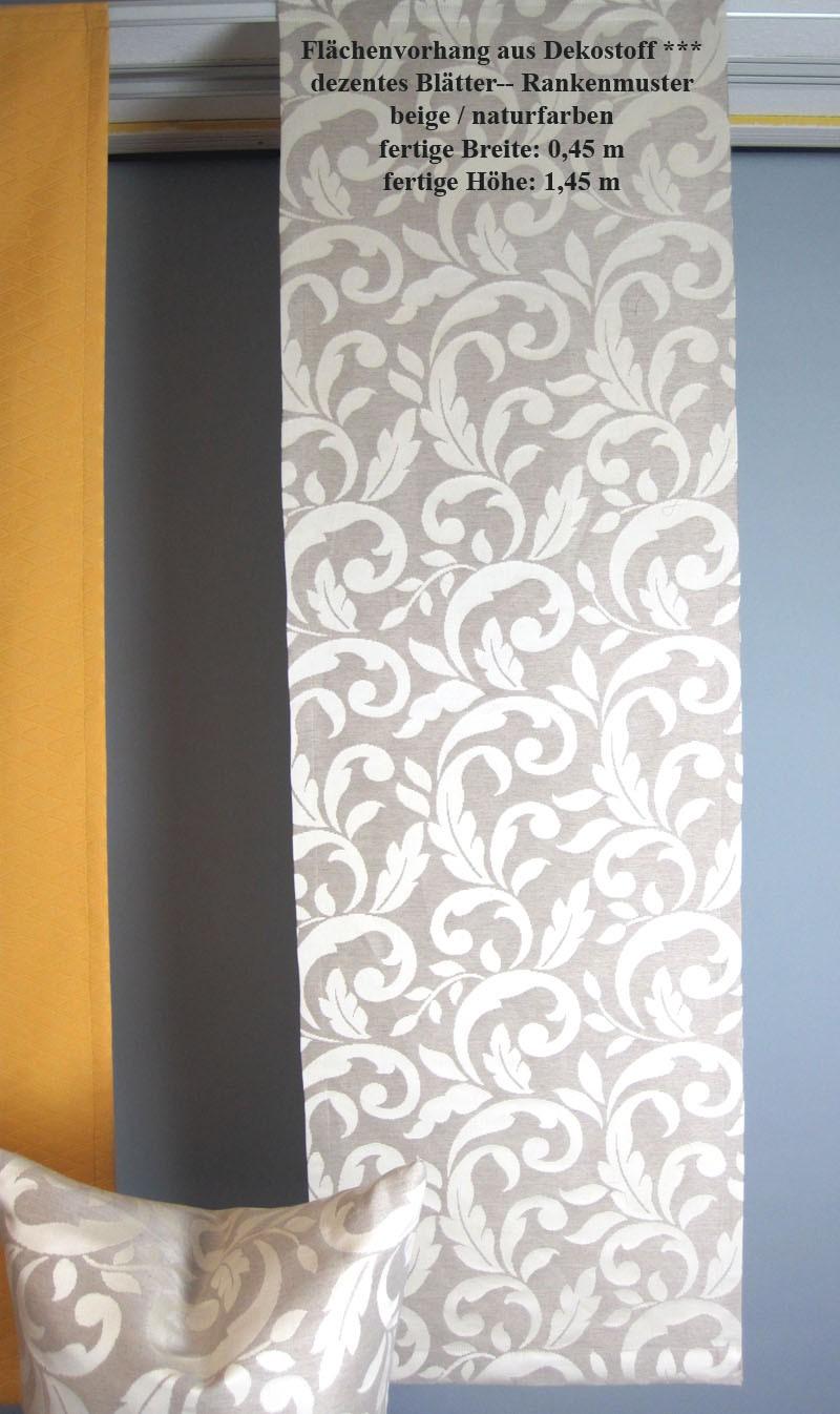Flächenvorhang zum Kletten, zeitloses Blätter-Rankenmuster 45x145 cm beige/natur