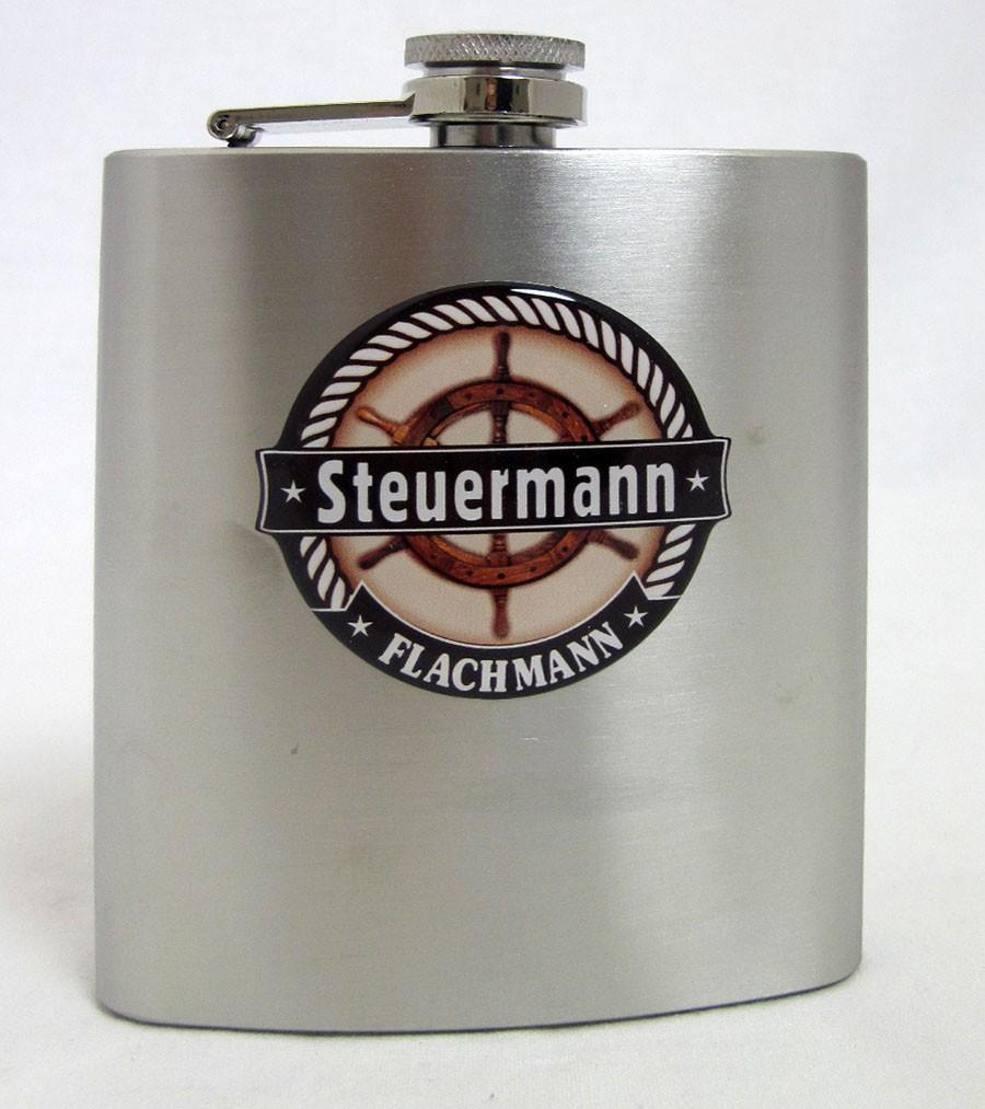 Flachmann Edelstahl gebürstet - Steuermann  ca. 9,3 x 12,5 x2,6 cm B/H/T