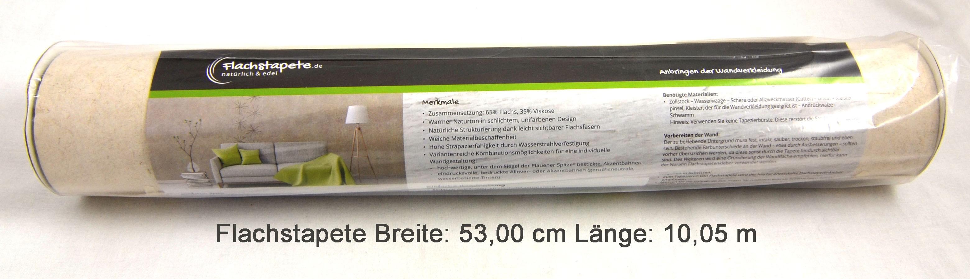 Flachstapete  Breite x Länge 53,00 cm x 10,05 m