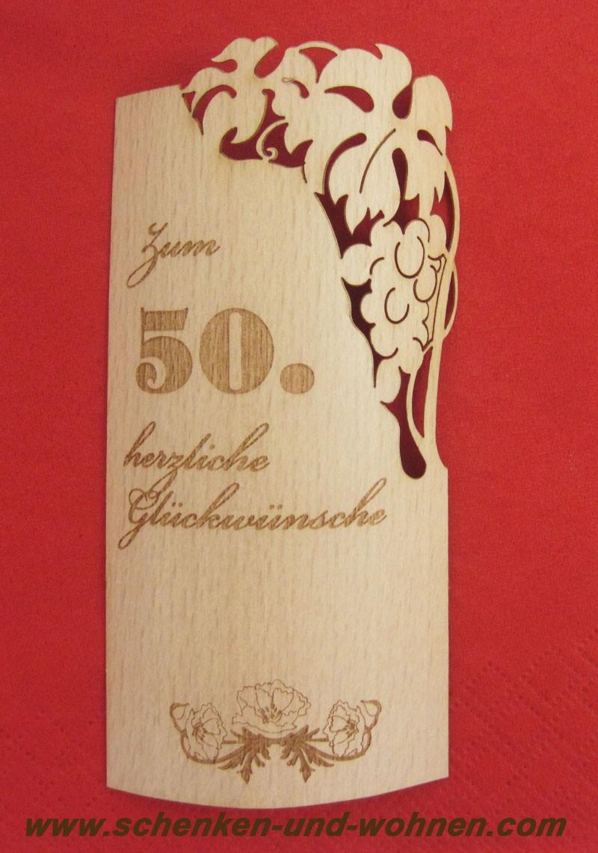 Flaschenetikett - Echtholzfurnier - Zum 50.Geburtstag - selbstklebend