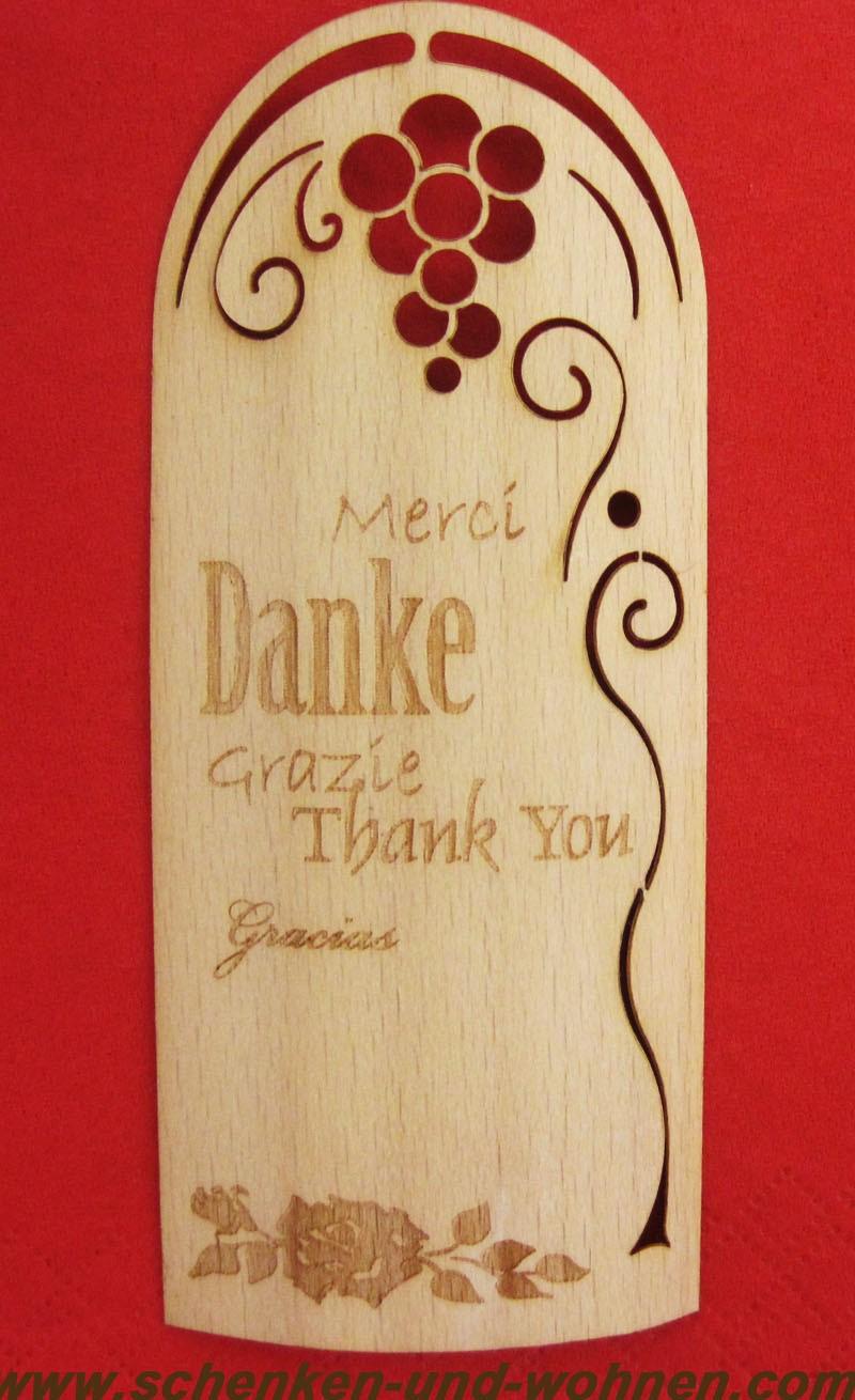 Flaschenetikett - Echtholzfurnier - DANKE - mehrsprachig, selbstklebend