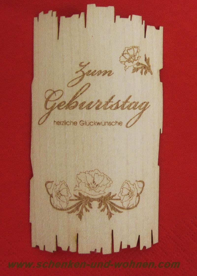Flaschenetikett - Echtholzfurnier - Zum Geburtstag - selbstklebend