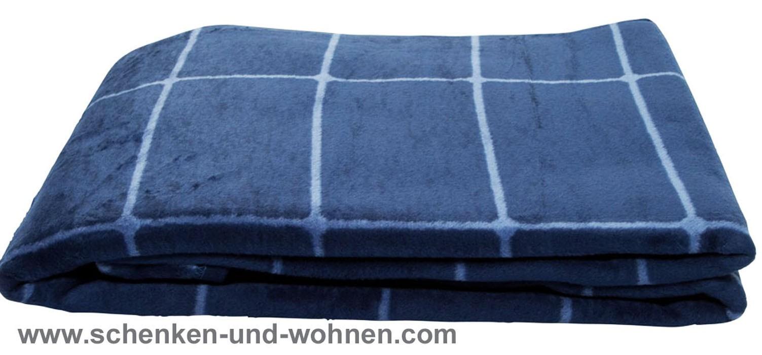 TT - Flausch-Decke 150 x 200 cm, Blau kariert
