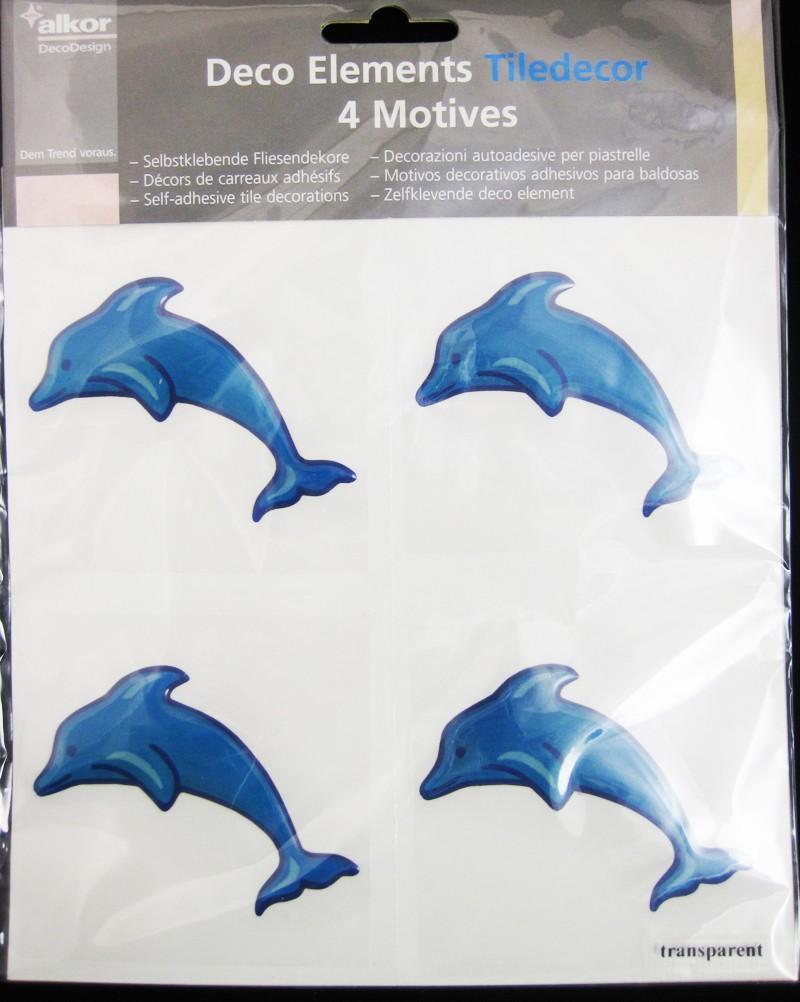 Selbstklebende Fliesendekore Delphin, blau