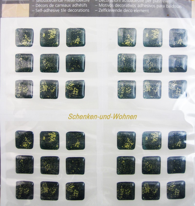 Selbstklebende Fliesendekore Minifliese, Grün marmoriert ca. 1,6 cm x 1,6 cm