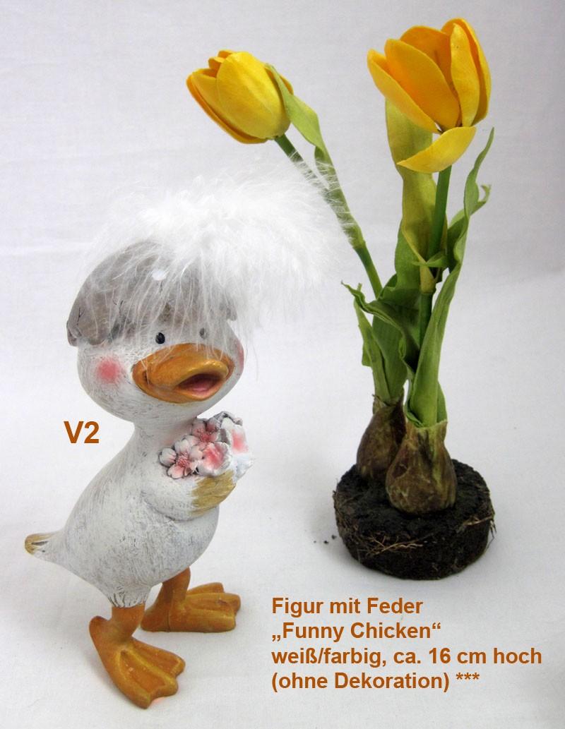 Deko-Figur Mann mit Feder Funny Chicken ca 16 cm V1