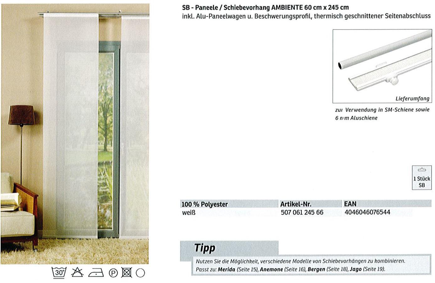 Schiebevorhang Ambiente weiß 60 x 245 cm