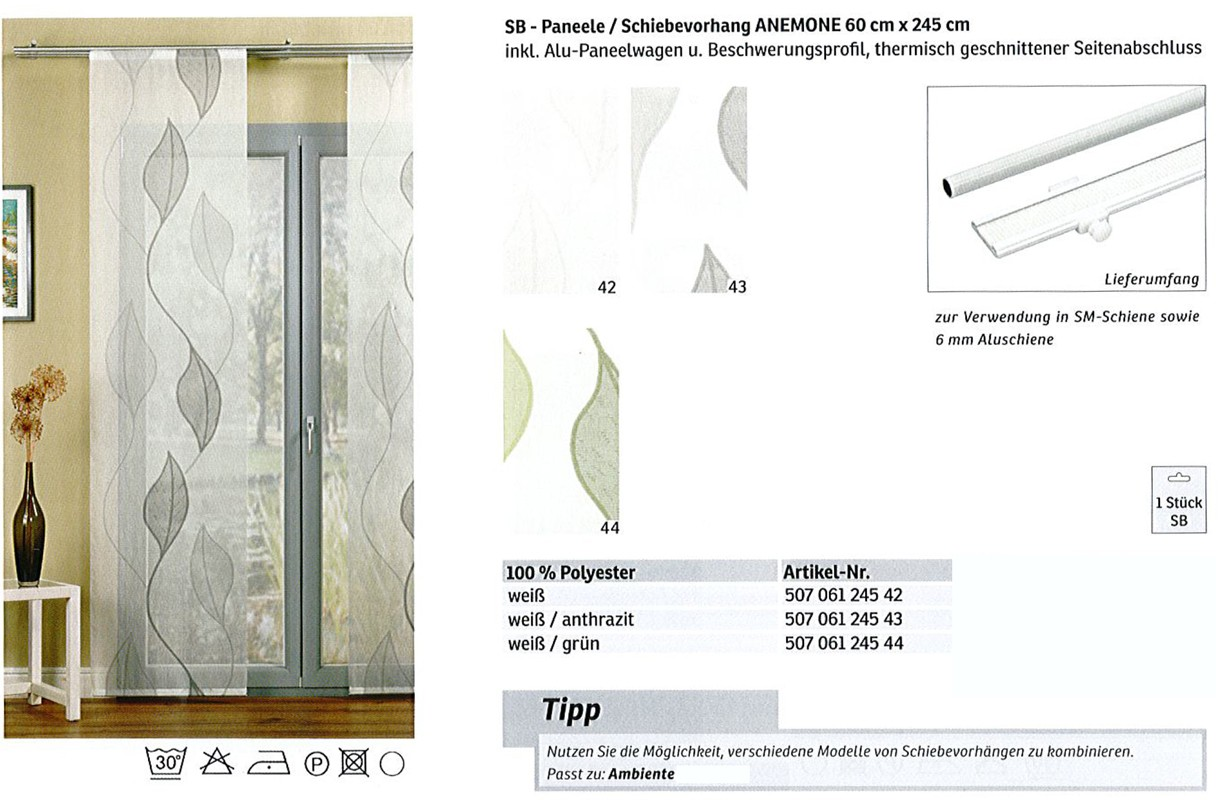 Schiebevorhang  Anemone weiß-grün 60x245 cm