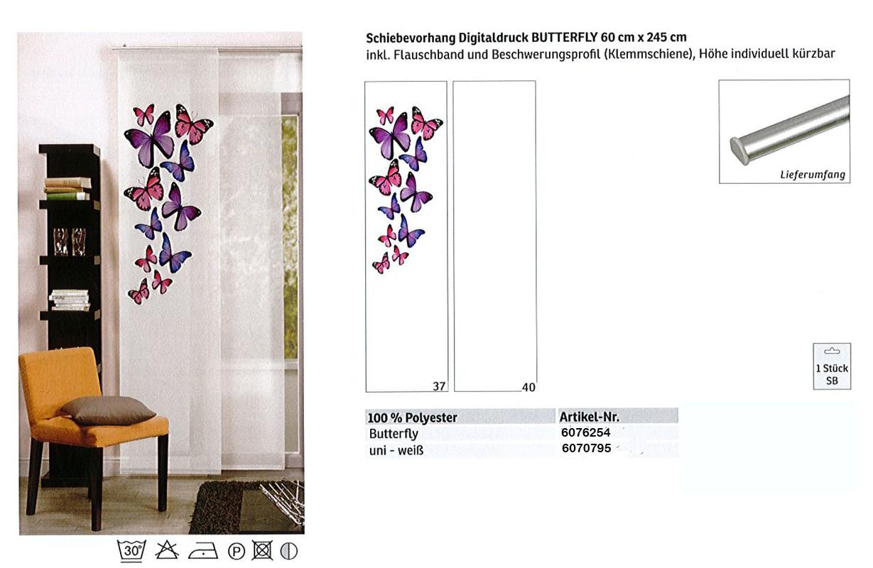 Schiebevorhang mit Digitaldruck Butterfly Weiß-Bunt, ca. 60 x 245 cm