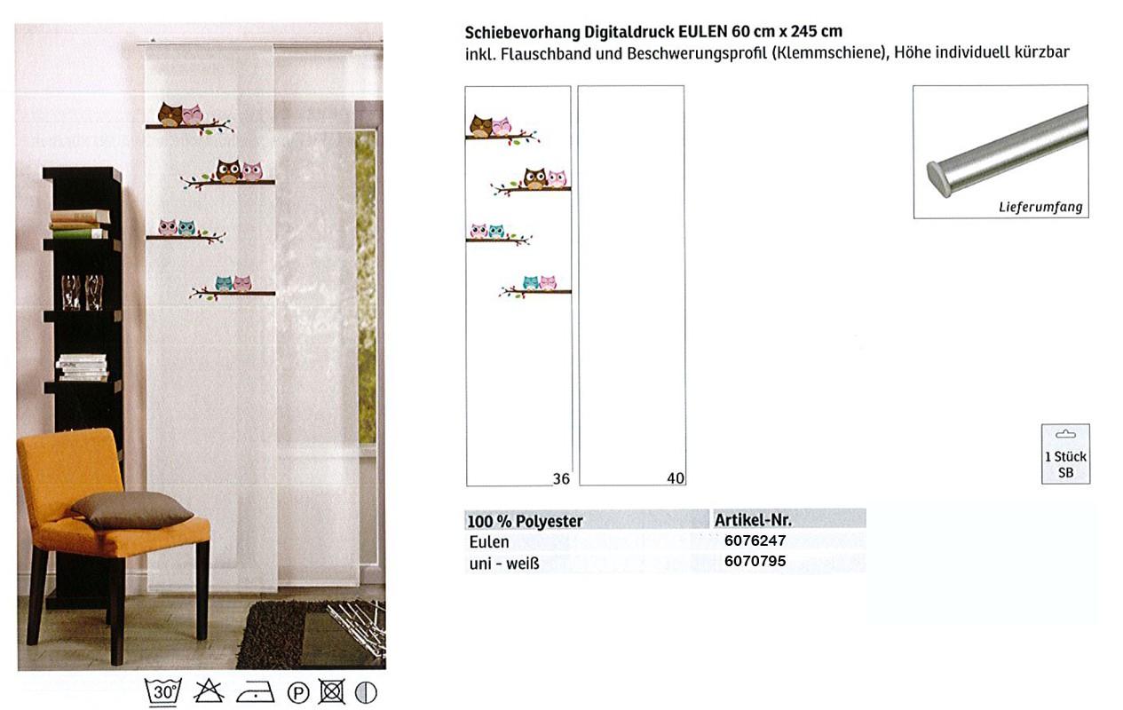 Schiebevorhang Digitaldruck Eule weiß-bunt, ca. 60 x 245 cm