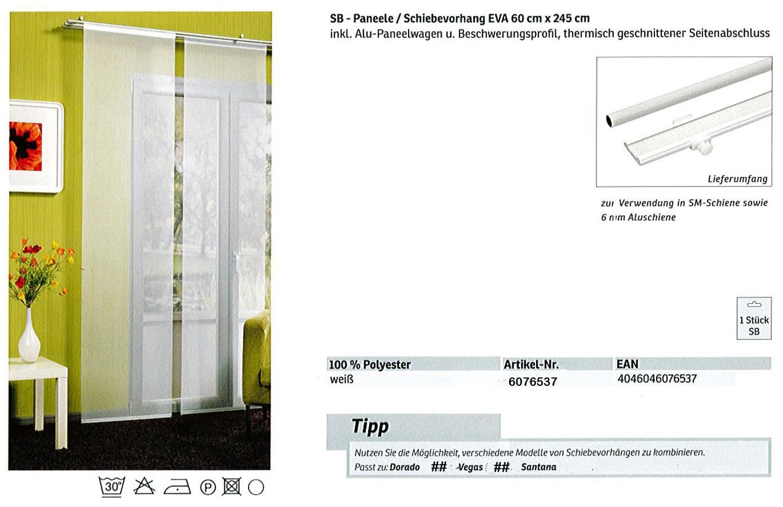 SB-Paneele / Schiebevorhang Eva weiß 60 x 245 cm
