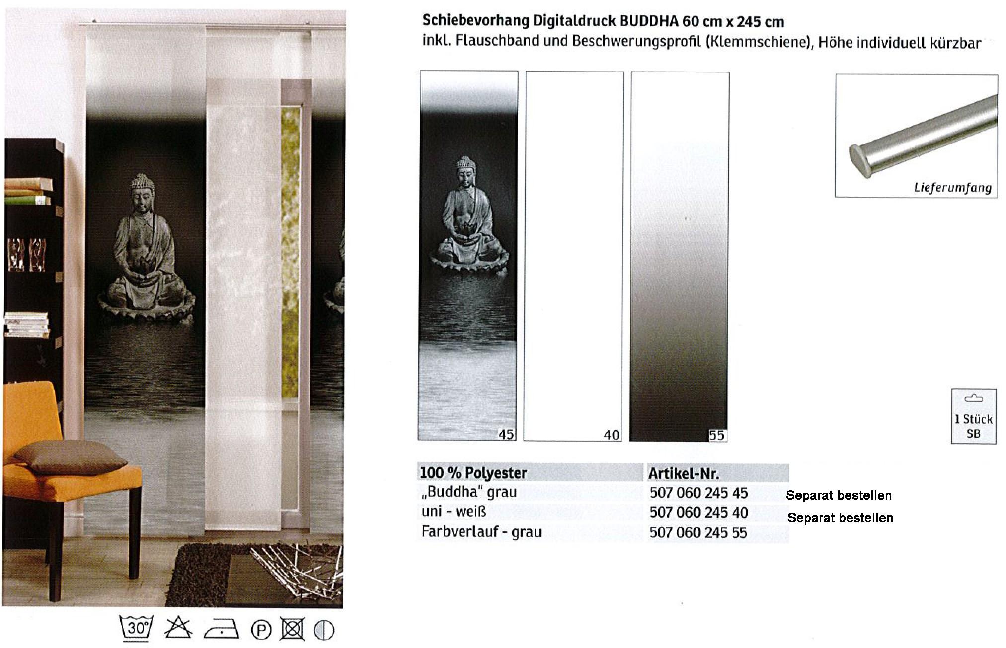Schiebevorhang Farbverlauf grau 60x245 cm
