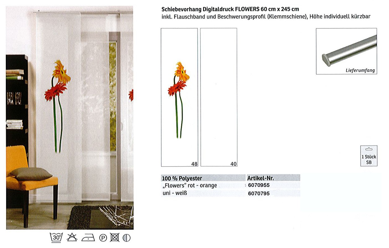 Schiebevorhang Digitaldruck Flowers rot-orange, ca. 60 x 245 cm