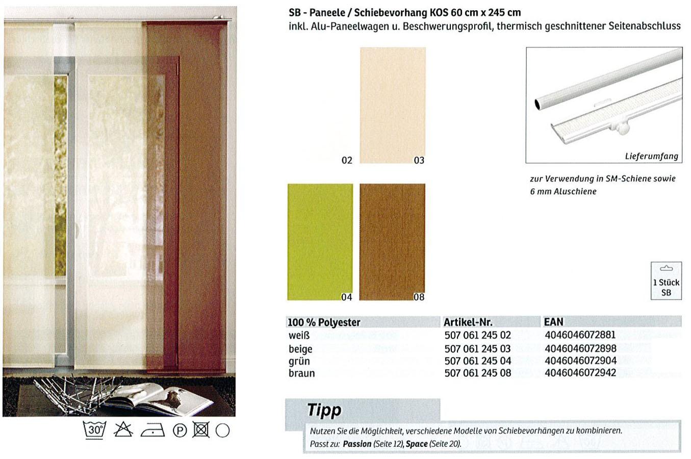 SB-Paneele / Schiebevorhang Kos weiß 60 x 245 cm