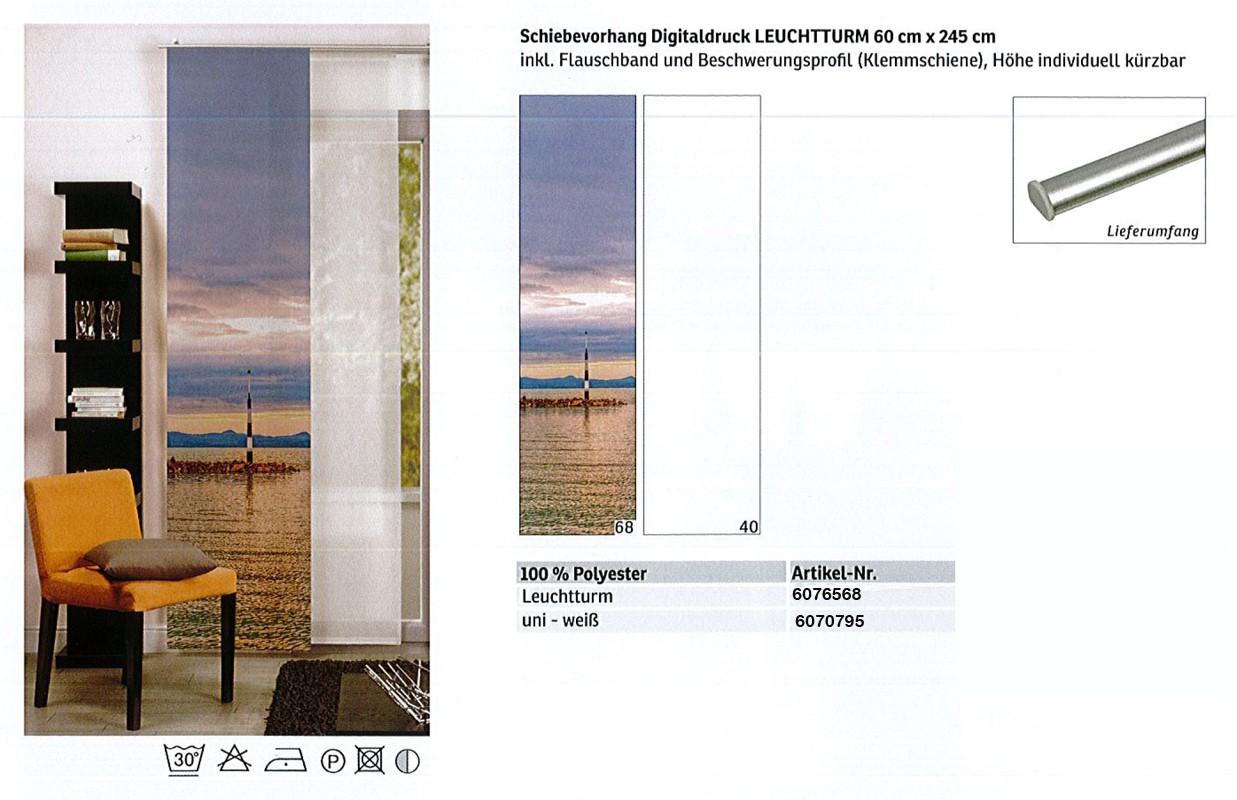 Schiebevorhang Digitaldruck Leuchtturm blau-bunt, ca. 60 x 245 cm