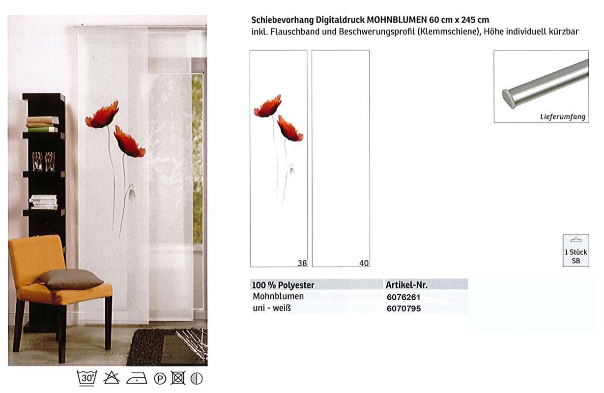 Schiebevorhang Digitaldruck Mohnblumen Weiß-Rot, ca. 60 x 245 cm