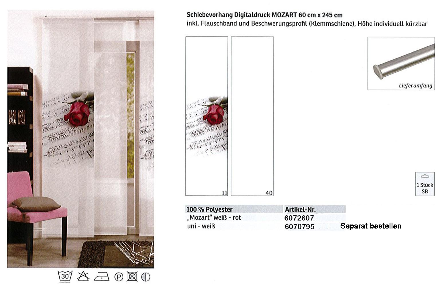 Schiebevorhang Digitaldruck Mozart Weiß-Rot, ca.60 x 245 cm