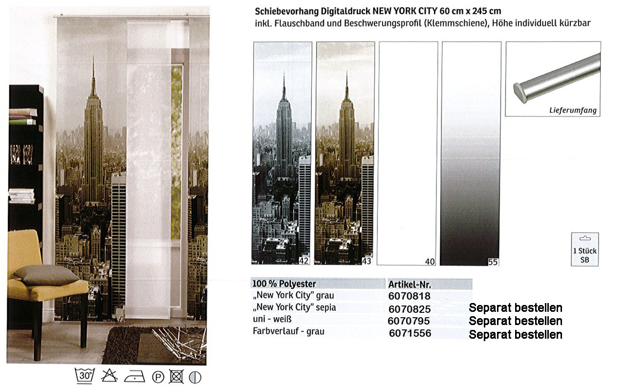 Schiebevorhang Digitaldruck New York City grau, ca. 60 x 245 cm