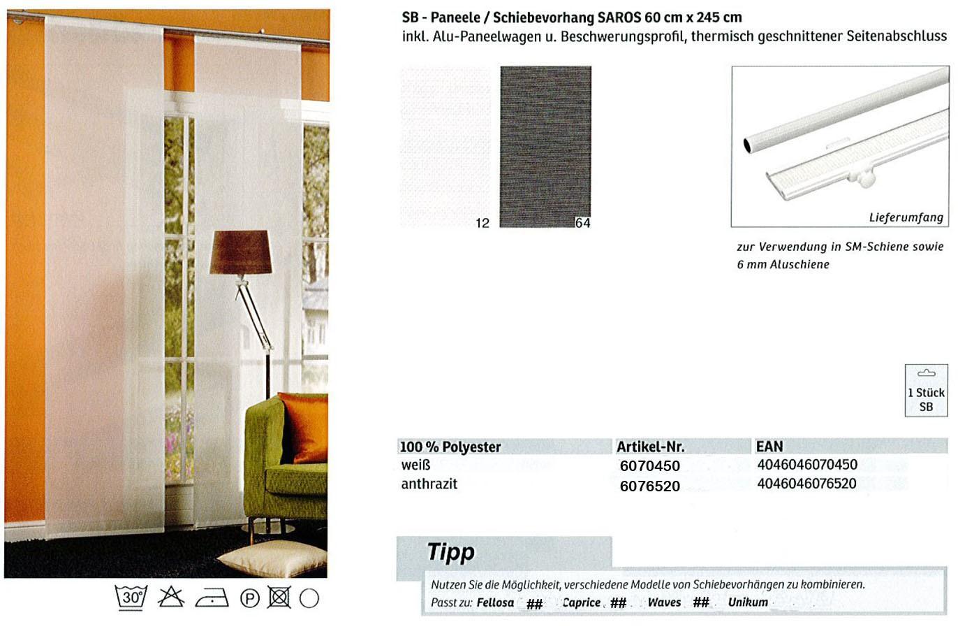 Schiebevorhang Saros weiß 60x245 cm