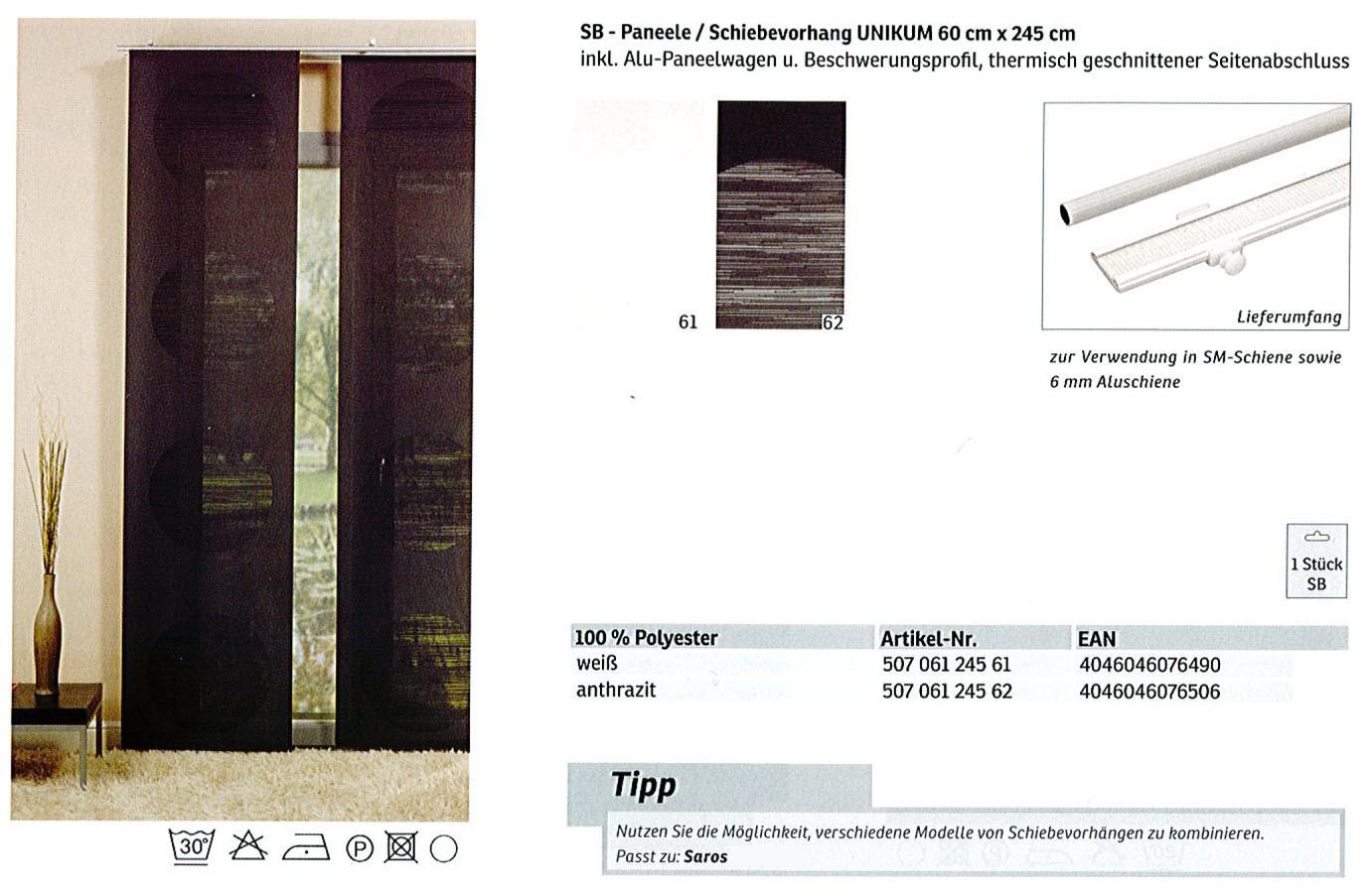 Schiebevorhang Unikum weiß 60x245 cm