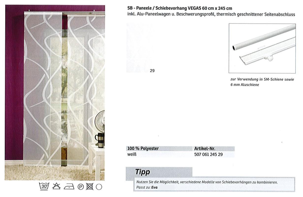 SB - Paneele / Schiebevorhang Vegas weiß, ca. 60 x 245 cm