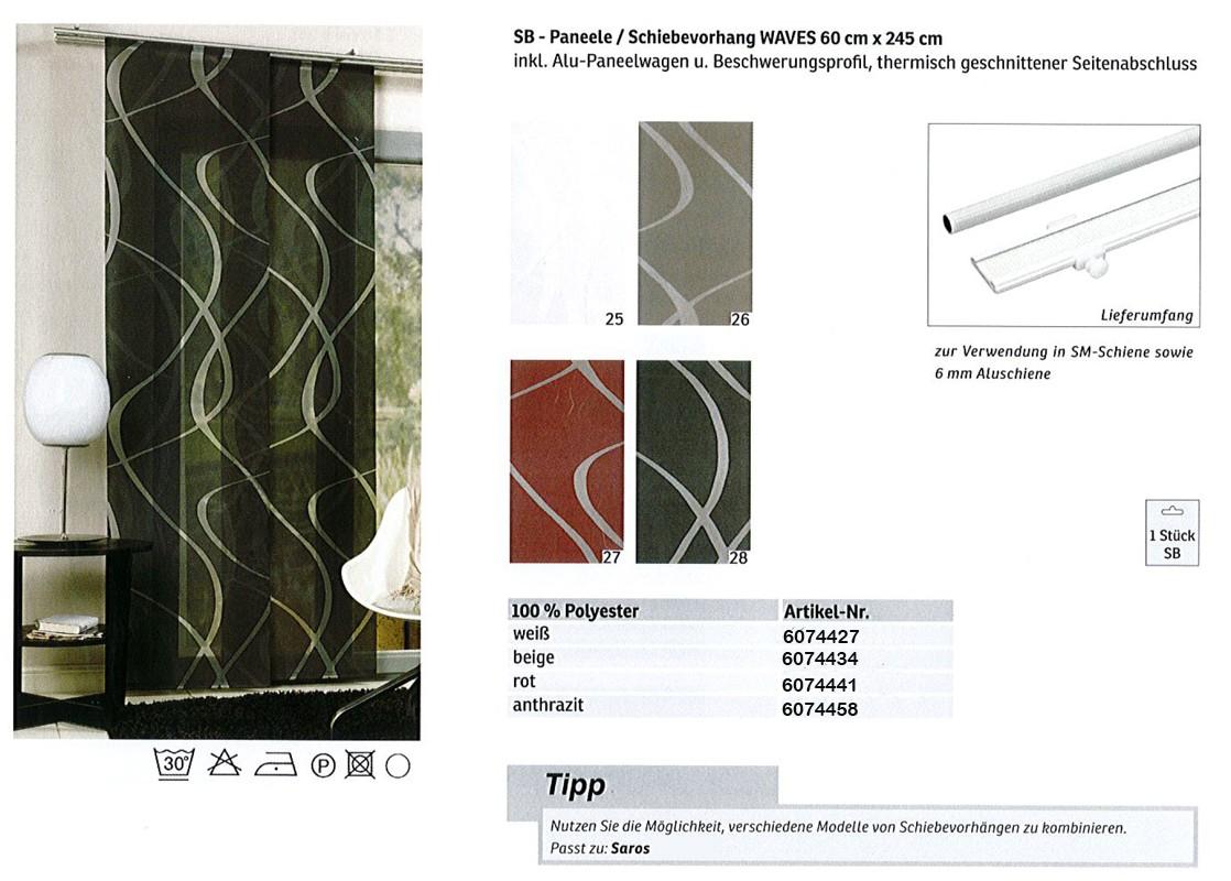 SB - Paneele / Schiebevorhang  Waves weiß, ca. 60 x 245 cm