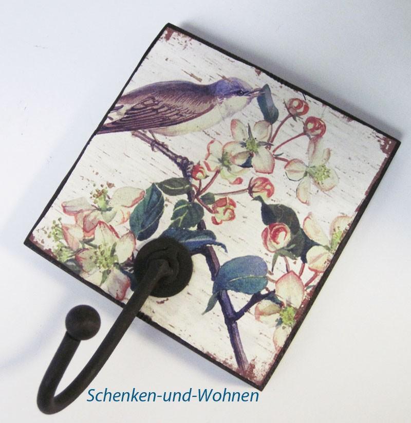 Garderobenhaken im Vintagelook - Dessin mit Vogelmotiv ca. 12,5 x 12,5 cm