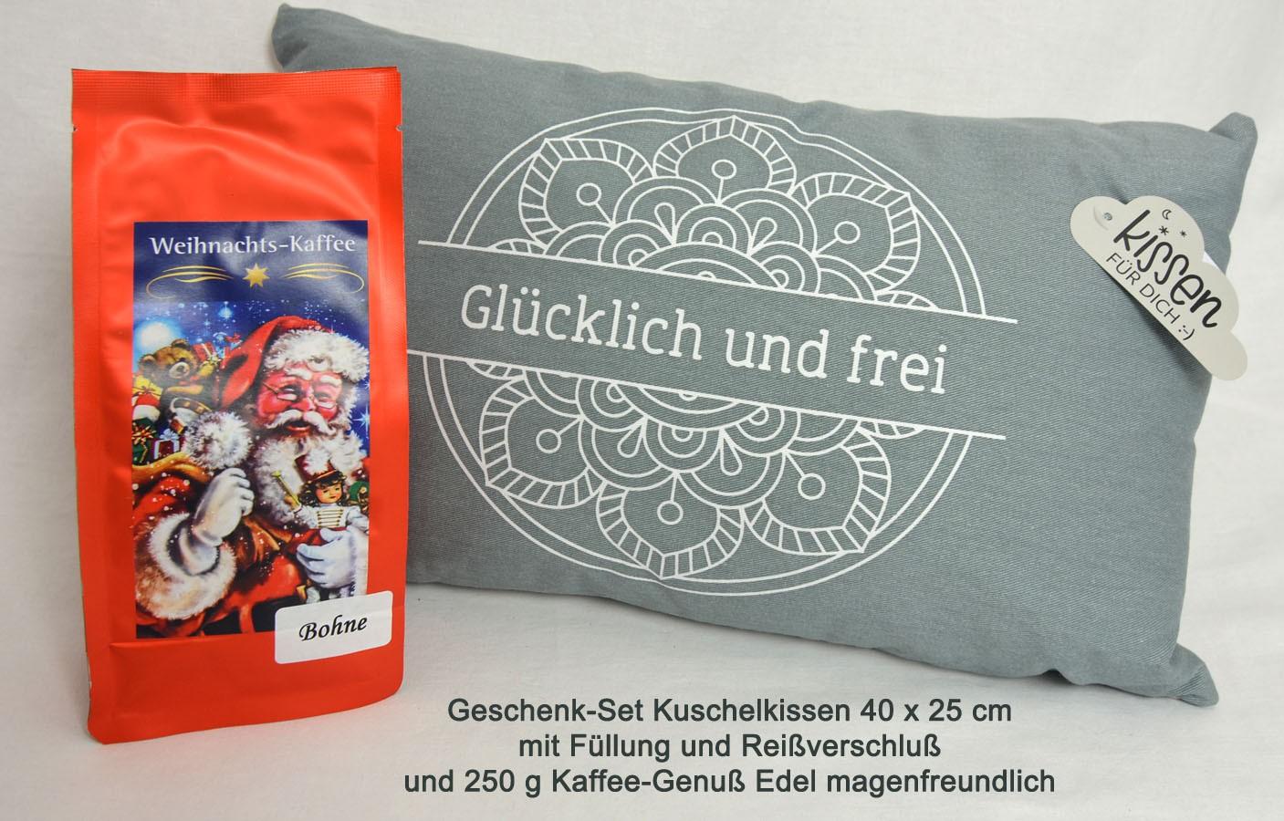 Geschenk-Set Kuschelkissen mit 250 g Kaffee-Genuß Bohne
