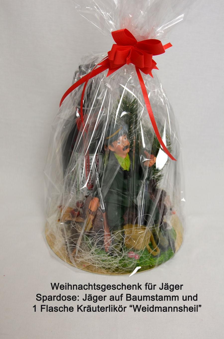 Weihnachtsgeschenk für Jäger Spardose und Kräuterlikör 0,5l