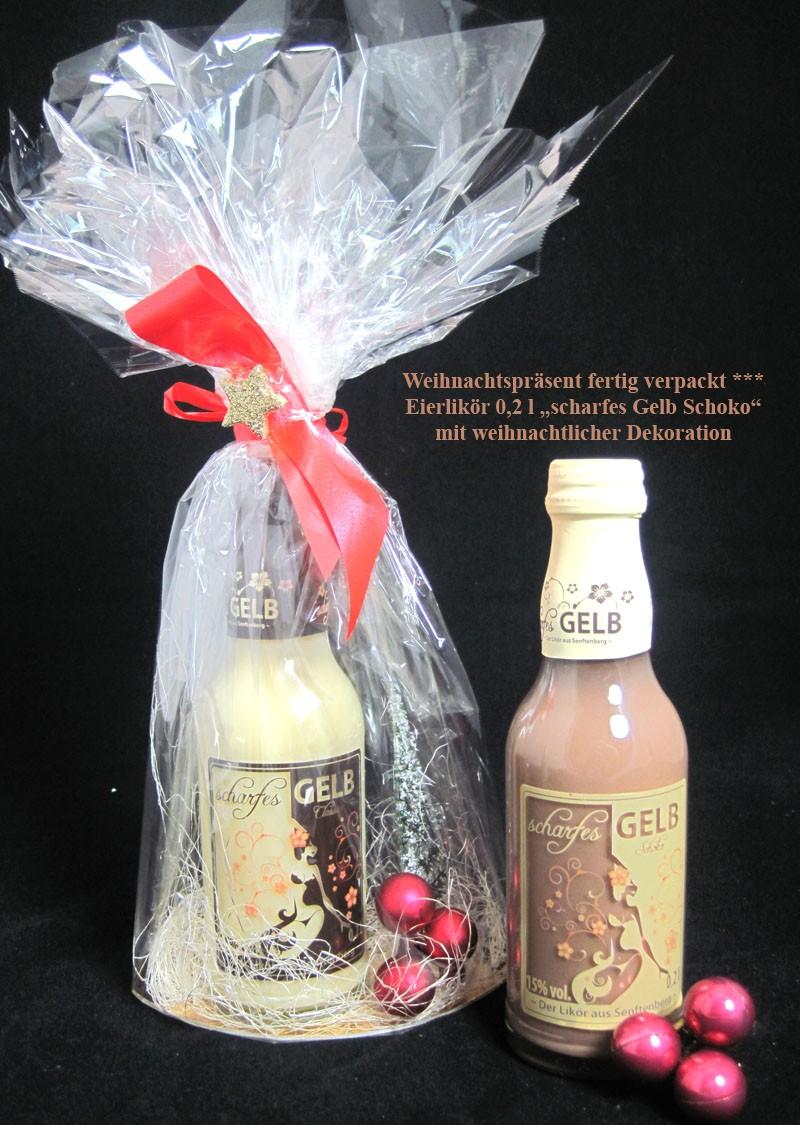 Weihnachtspräsent fertig verpackt Eierlikör Schokoladen Geschmack 0,2 l 15% vol.
