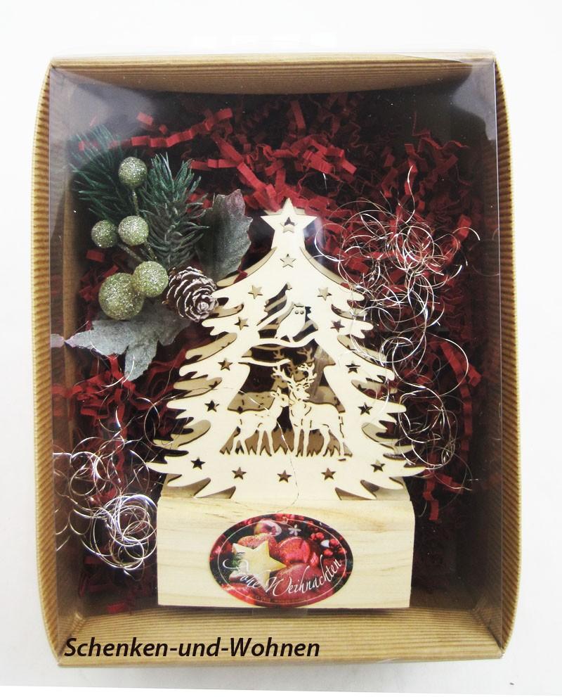 "Geschenke-Box  "" Mini-LED-Laserholz-Baum"" sortiert."
