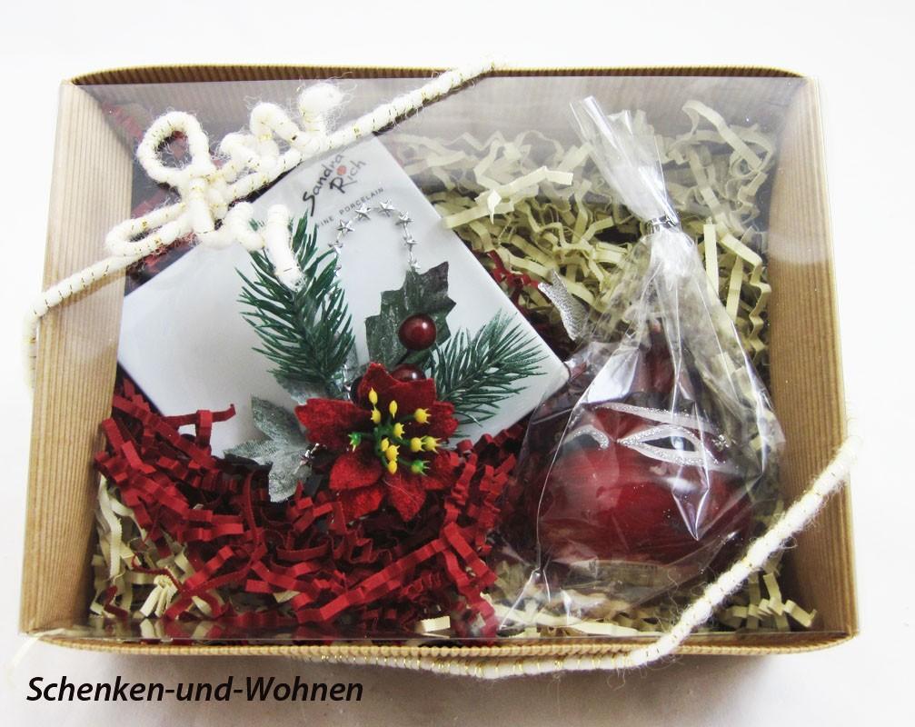 """Geschenke-Box  """"Kleiner Porzellanteller mit Zwiebelkerze"""""""