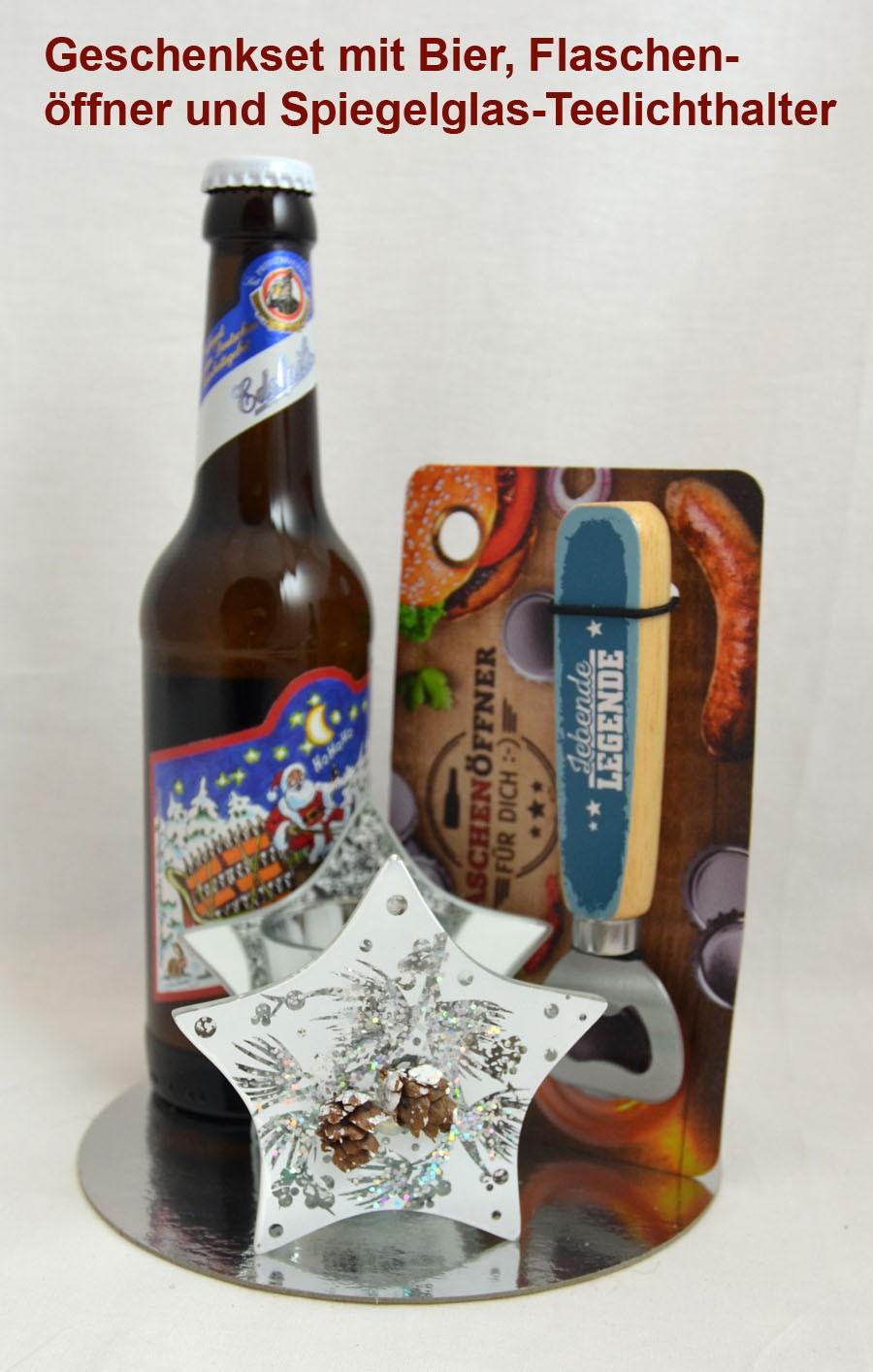Geschenk-Set Bier, Öffner und Spiegelglas