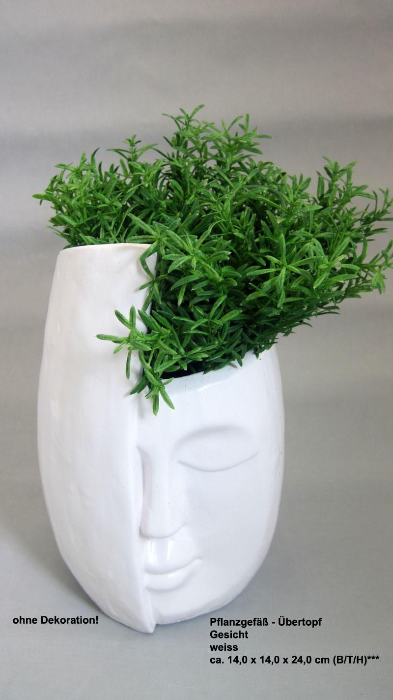 Pflanzgefäß - Übertopf Gesicht weiss ca. 14,0 x 14,0 x 24,0 cm (B/T/H)