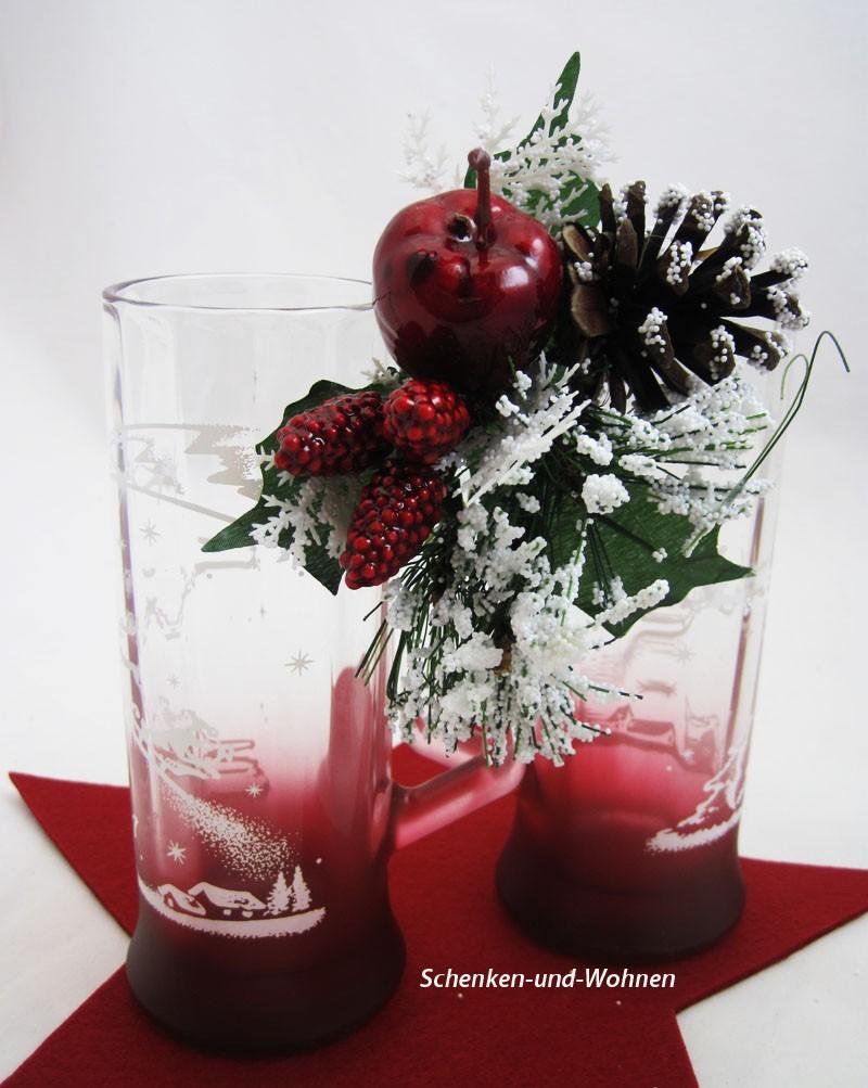 """2er-Set Party-Seidel, Glühweinglas """"Winterlandschaft"""" rot gespritzt 0,3L"""