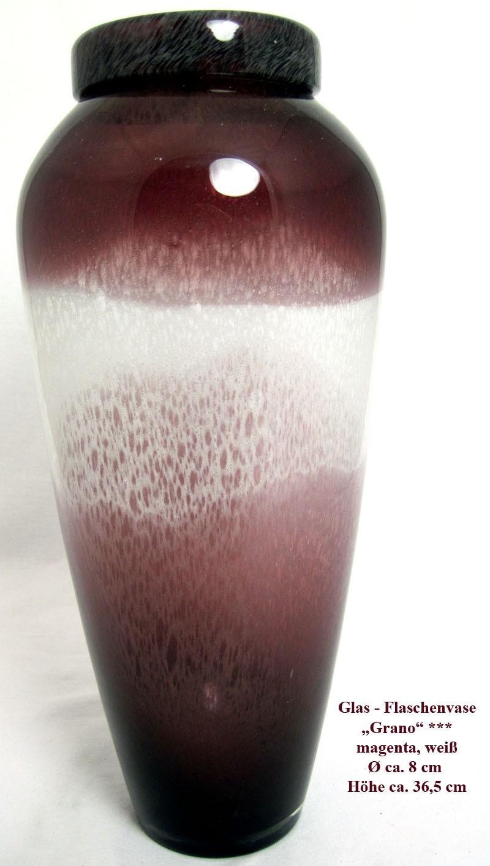 """Glas - Flaschenvase """"Grano"""" magenta, weiß 36,5 x 8 cm (Höhe x Durchmesser)"""