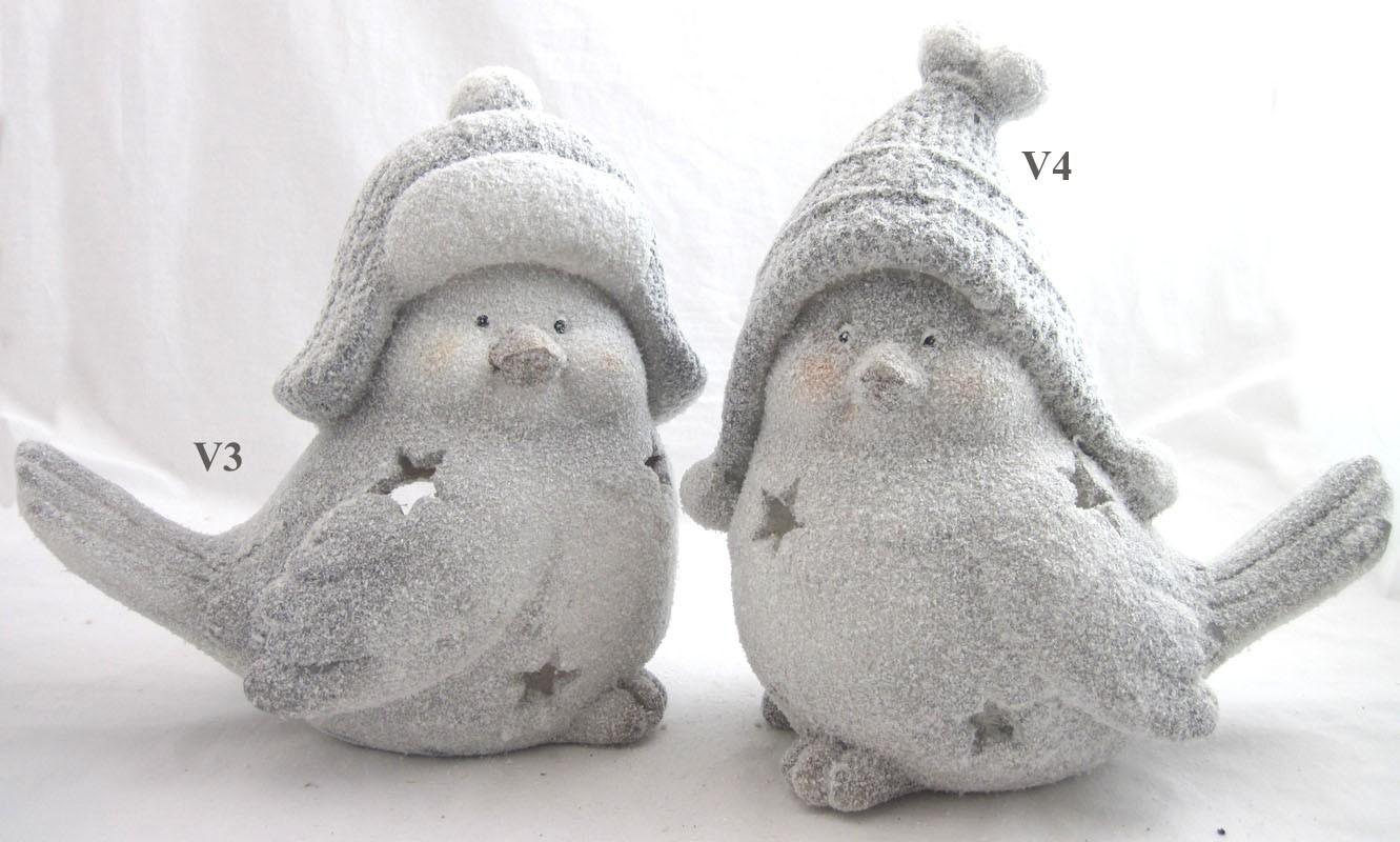 """Windlicht Gips-Figur """"Wintervogel"""" graue Mütze 2-fach sort.grau/weiß ca.28 cm"""