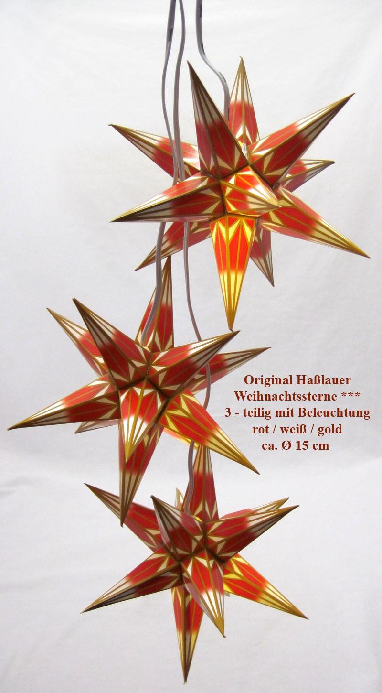 3 Original Haßlauer Weihnachtssterne mit Beleuchtung rot/weiß/gold Ø 15 cm