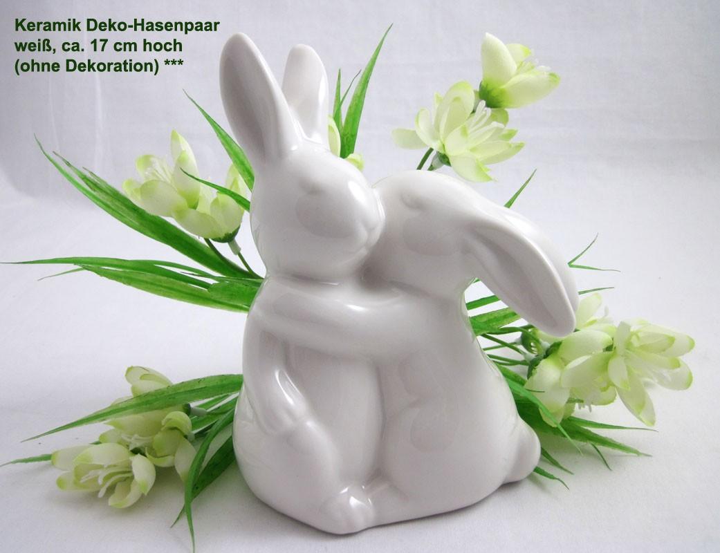 Keramik Deko-Hasenpaar, weiß, ca. 17 cm
